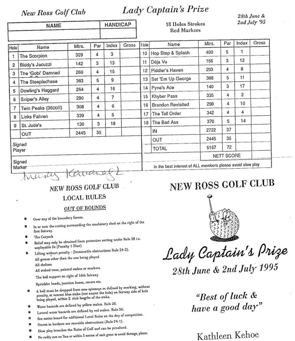 Lady Captains Scorecard 1995